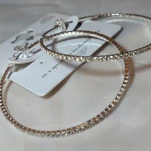 Jewelry - Silver toned Crystal encrusted hoop earrings